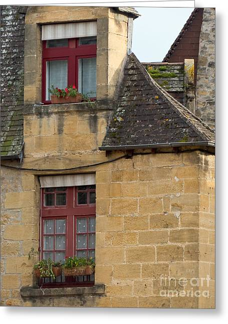 Greeting Card featuring the photograph Red Windows by Paul Topp