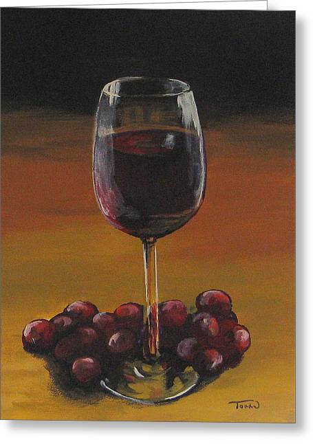 Red Wine And Red Grapes Greeting Card