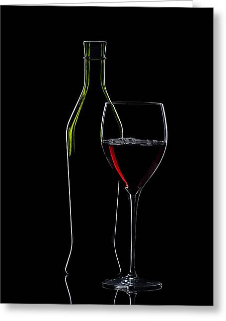 Red Wine Bottle And Wineglass Silhouette Greeting Card by Alex Sukonkin