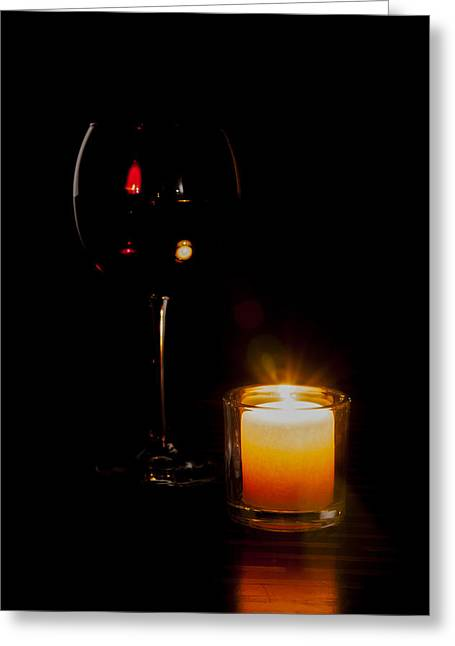 Red Wine By Candlelight Greeting Card