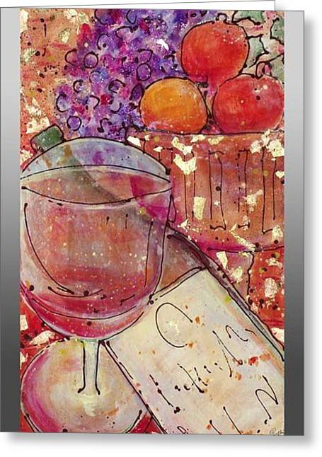 Greeting Card featuring the painting Red Wine II by Cynthia Parsons