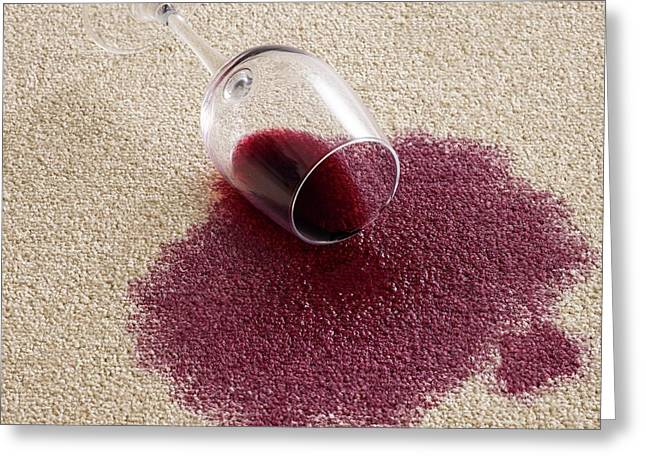 Red Wine On Carpet Greeting Card