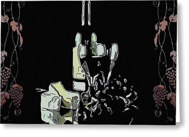 Red Wine With Cheese Greeting Card by Tommytechno Sweden