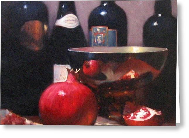 Red Wine With Pomegranates Greeting Card by Takayuki Harada