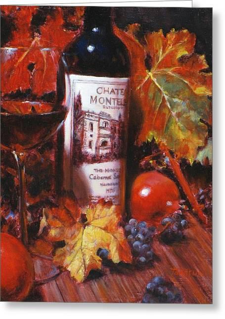 Red Wine With Red Pomergranates Greeting Card by Takayuki Harada