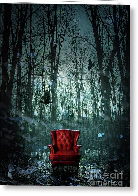 Red Wing Chair In Forest At Twilight Greeting Card by Sandra Cunningham