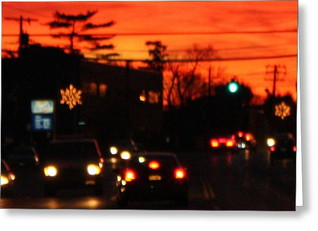 Red Winter Sunset Over Long Island Suburbs Greeting Card by John Telfer