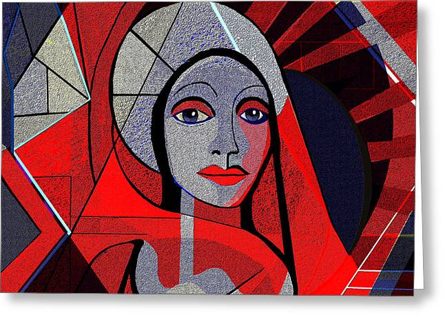 Red Woman Cubic -- 497 Greeting Card