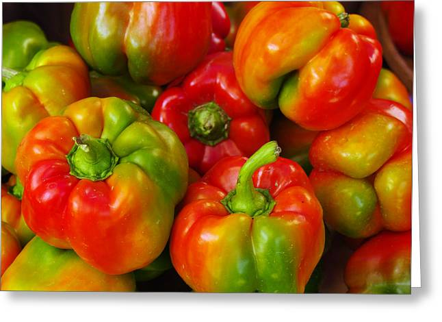 Red-yellow-green Peppers Greeting Card by John Ayo