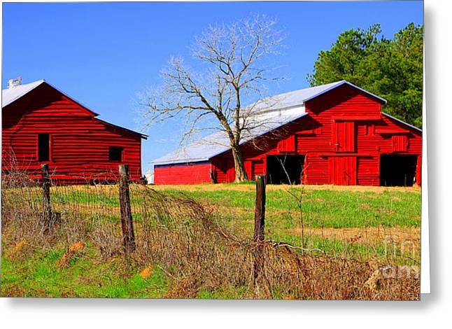 Red Barns Of The Past Alabama Greeting Card