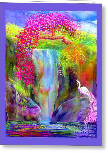 Waterfall And White Peacock, Redbud Falls Greeting Card