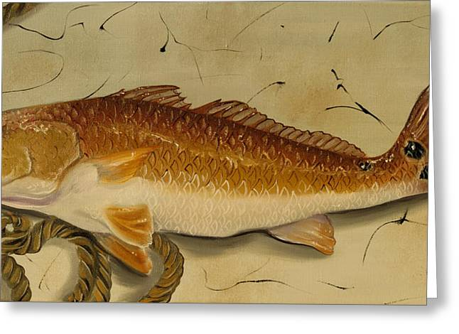 Redfish In The Boat Greeting Card