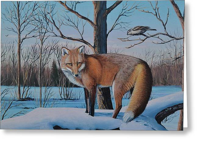 Redfox And Chickadee Greeting Card