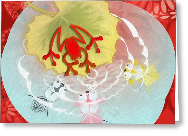 Redfrog At The Koi Pond Greeting Card by Andrea Ribeiro