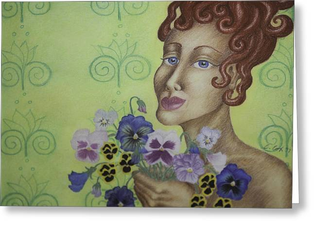 Redhead Holding Pansies Greeting Card by Claudia Cox