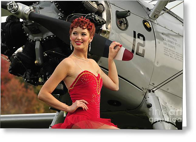 Redhead Pin-up Girl In 1940s Style Greeting Card