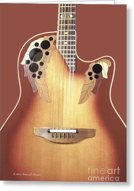 Redish-brown Guitar On Redish-brown Background Greeting Card