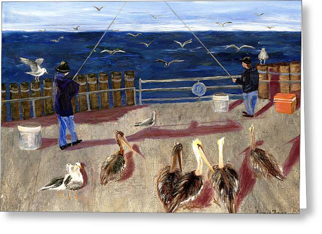 Redondo Beach Pelicans Greeting Card