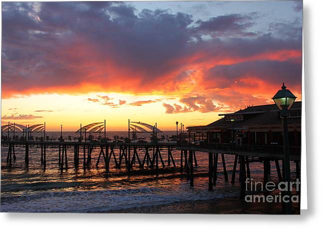 Redondo Pier Sunset Greeting Card