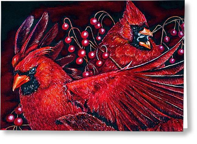 Reds Greeting Card by Linda Simon