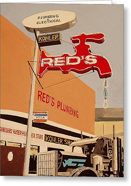 Reds Plumbing Greeting Card by Paul Guyer