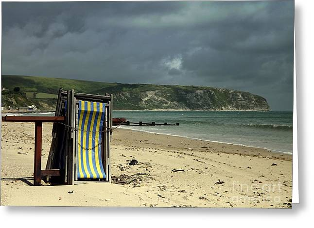 Greeting Card featuring the photograph Redundant Deck Chairs by Linsey Williams