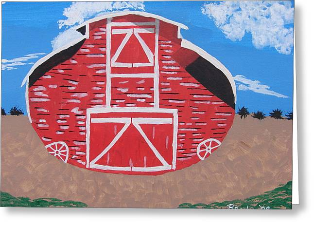 Greeting Card featuring the painting Redwood Farm Barn by Brady Harness