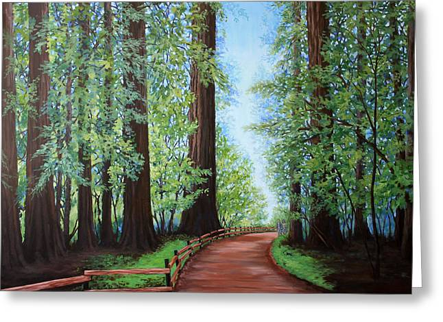Redwood Forest Path Greeting Card