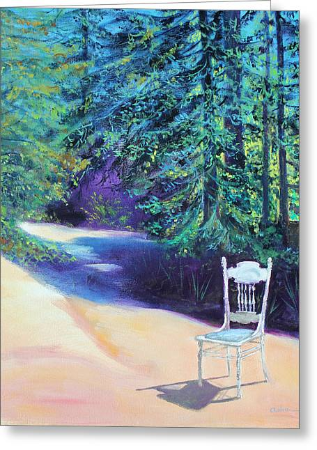 Redwood Path And White Chair Greeting Card
