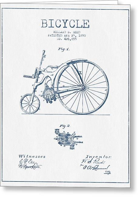 Reed Bicycle Patent Drawing From 1890 - Blue Ink Greeting Card by Aged Pixel
