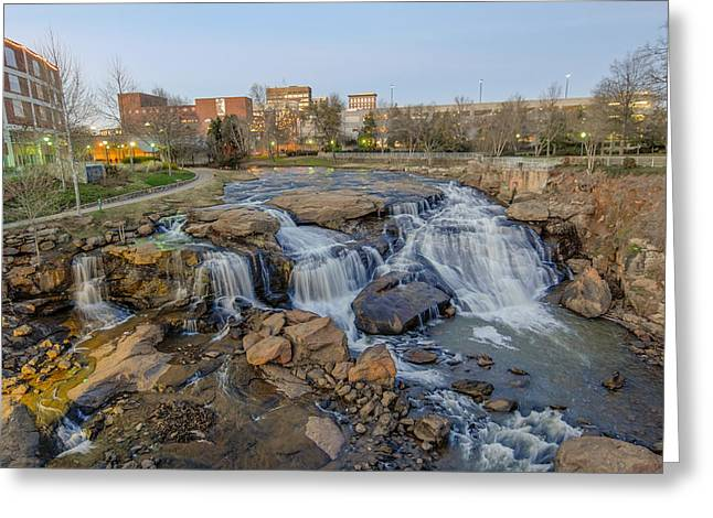 Reedy Falls At Dusk In Downtown Greenville Sc Greeting Card