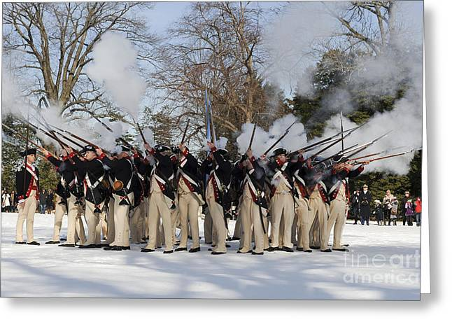 Reenactment Of The Revolutionary War Greeting Card by Stocktrek Images