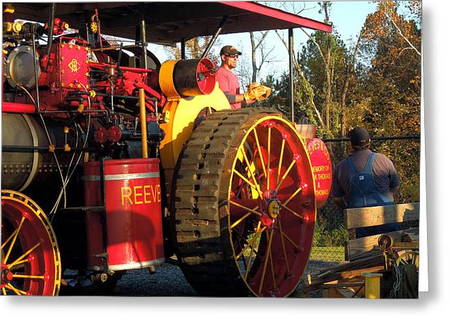 Reeves Steam Tractor Greeting Card by Pete Trenholm