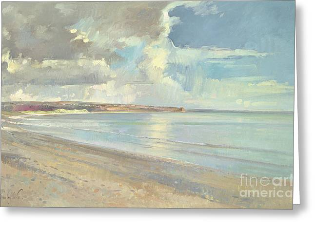 Reflected Clouds Oxwich Beach Greeting Card by Timothy  Easton