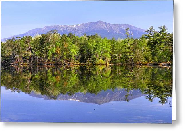 Greeting Card featuring the photograph Reflected Katahdin by Gene Cyr