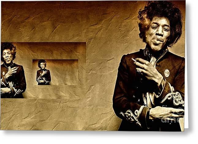 Reflecting On Jimi Hendrix  Greeting Card