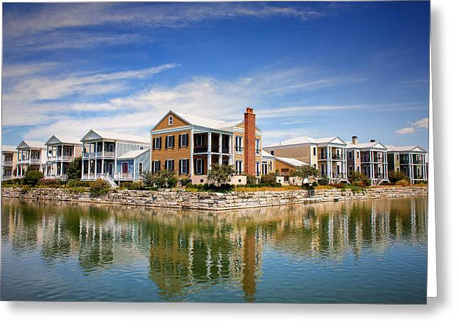 Reflecting On New Town Greeting Card by Bill Tiepelman
