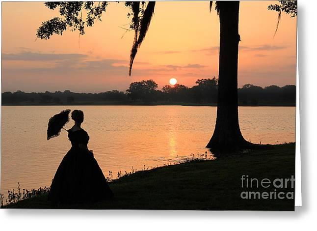 Reflecting Sunrise Belle Greeting Card by Leslie Kirk