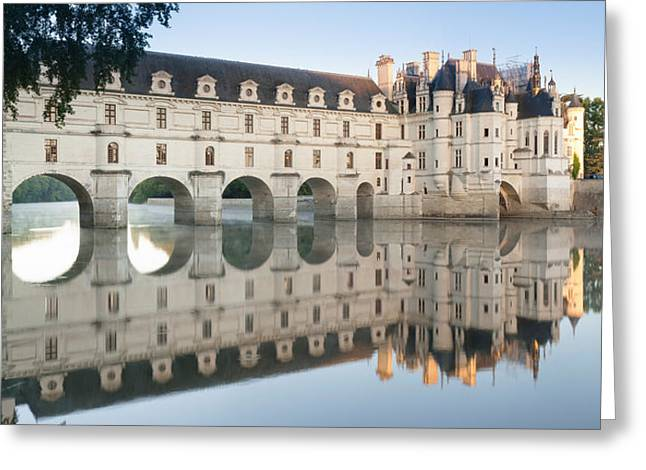 Reflection Of A Castle In A River Greeting Card