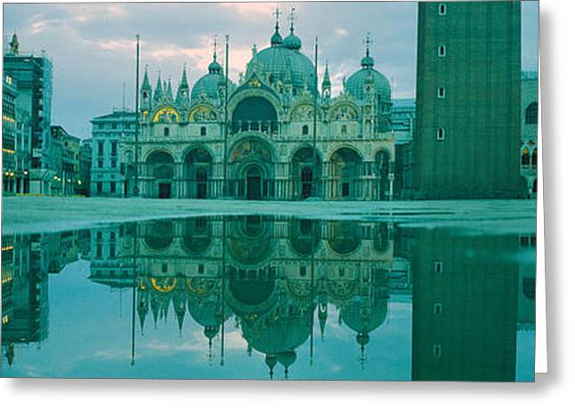 Reflection Of A Cathedral On Water, St Greeting Card