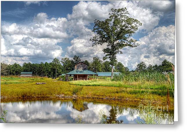 Greeting Card featuring the photograph Reflection Of A Farm House by Kathy Baccari