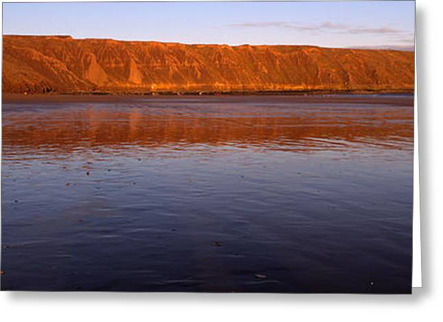 Reflection Of A Hill In Water, Filey Greeting Card
