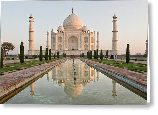 Reflection Of A Mausoleum In Water, Taj Greeting Card by Panoramic Images