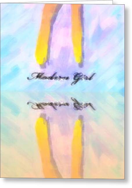 Reflection Of A Modern Girl In Abstract Oil Greeting Card by Tommytechno Sweden