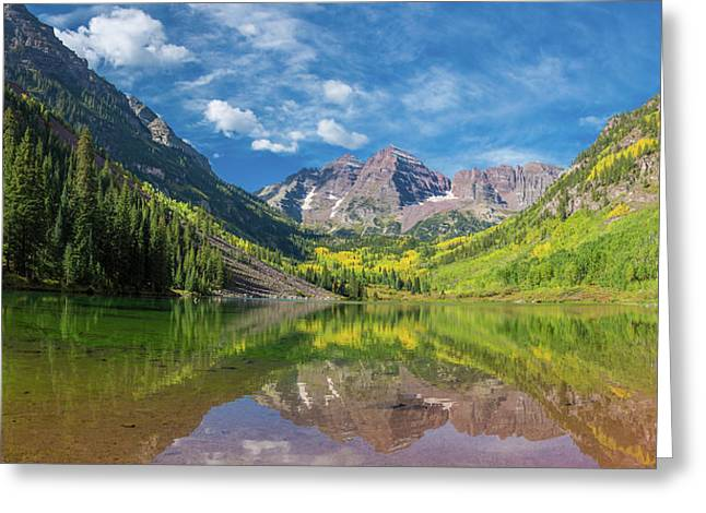 Reflection Of A Mountain On Water Greeting Card