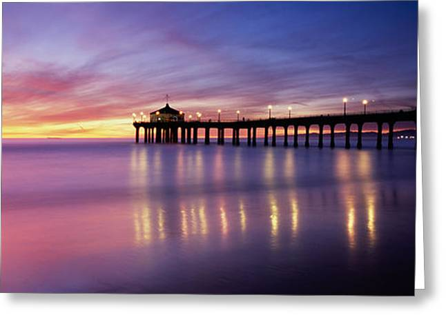 Reflection Of A Pier In Water Greeting Card by Panoramic Images