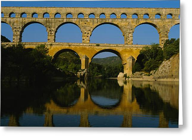Reflection Of An Arch Bridge Greeting Card by Panoramic Images