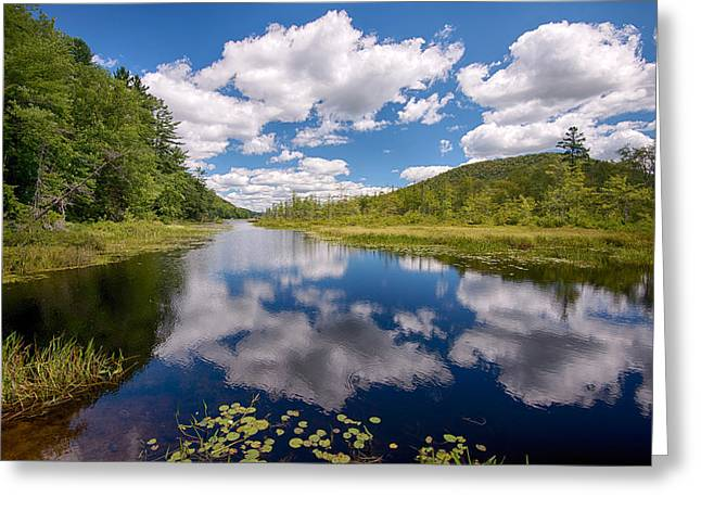 Reflection Of Clouds In Oxbow Lake Greeting Card by Panoramic Images