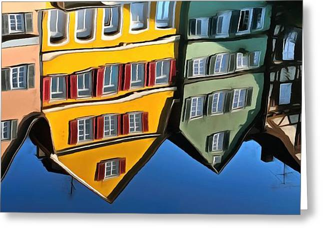 Reflection Of Colorful Houses In Tuebingen In River Neckar Greeting Card by Matthias Hauser