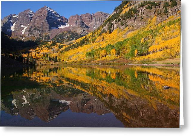 Reflection Of Maroon Bells During Autumn Greeting Card